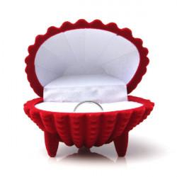 Shell Shape Velvet Ring Örhängen Hänge Presentförpackning Smycke Case