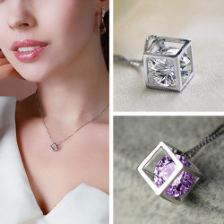 Silverpläterad Geometriskt Crystal Square Halsband Hängande DIY Smycken