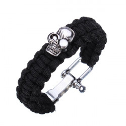 Schädel Paracord Armband Edelstahl Wölbung Überlebens Armband