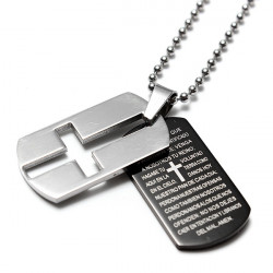 Unisex Stainless Steel Cross Bible Pendant Tag Chain Necklace