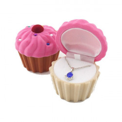 Velvet Cup Cake Rhinestone Ring Earrings Jewelry Box Storage Case Gift
