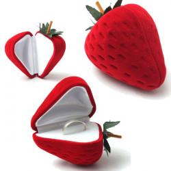 Velvet Red Strawberry Ring Earrings Jewelry Storage Box Case Gift