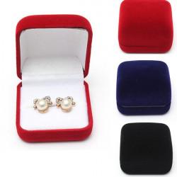 Velvet Stud Earring Ring Smyckeskrin Smycke Display Gift Box