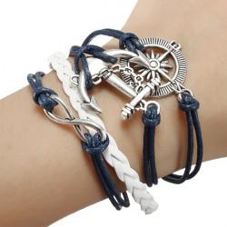 Vintage Anchor Rudder Infinite Symbol Multilayer Leather Rope Bracelet