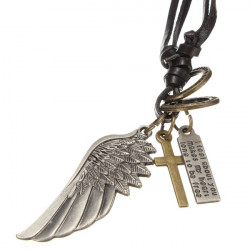 Vintage Angel Wings Cross Tag Leather Chain Men Pendant Necklace