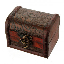 Vintage Antique Flower Printed Wooden Jewelry Storage Box Case