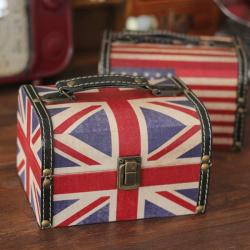 Vintage Brittisk Amerikanska Flaggan Smyckeskrin Arrangör Förvaringsväska