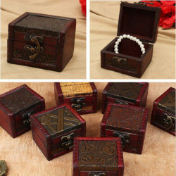 Vintage Flower Printed Wooden Jewelry Storage Box Case Multi Patterns