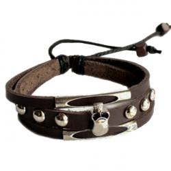 Vintage Skull Coffee Bracelet Wrist Leather Cord Bracelet