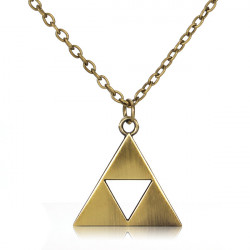Vintage Triangle Metal Alloy Pendant Necklace Gold Silver