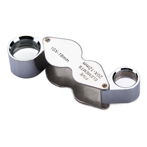 10X 20X Juvelerare Lupp Förstoring Dual Förstoringsglas Urmakeriverktyg