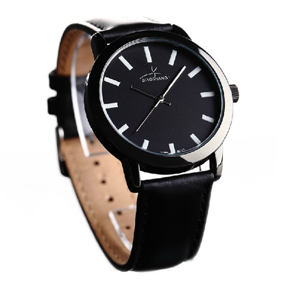 1123L Night Light luminous Men Leather Black Quartz Wrist Watch Watch