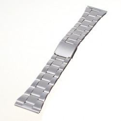 16-22mm Silver Stainless Steel Strap With Push Button Watch Band