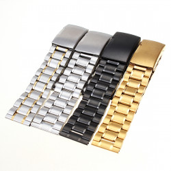 18-22mm Stainless Steel Strap Side Push Button Watch Band