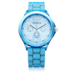 3 Dial Number Silicone Gold Women Round Quartz Wrist Watch Watch