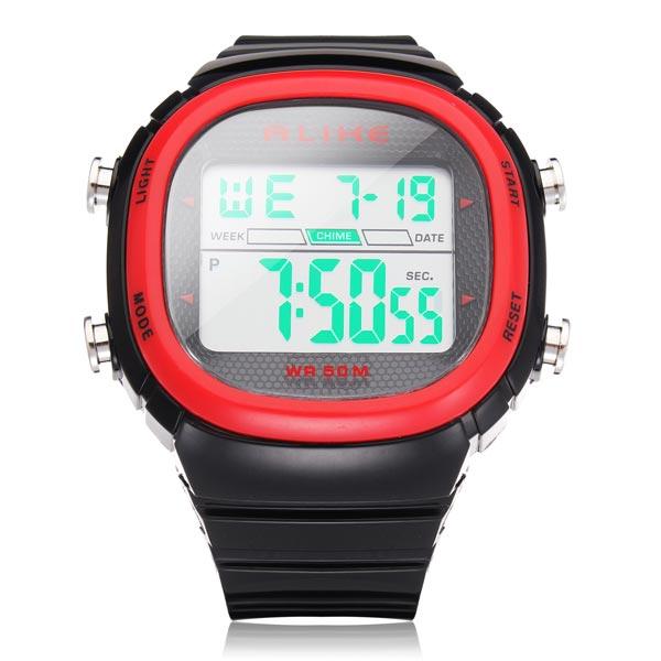 ALIKE A1281 Sport Black Rectangle Back Light Men Quartz Wrist Watch Watch