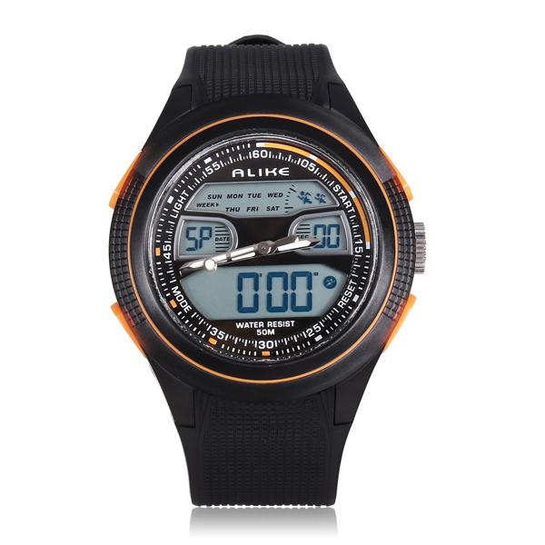 ALIKE AK1273 Sport LED Waterproof Dual Display Rubber Men Wrist Watch Watch