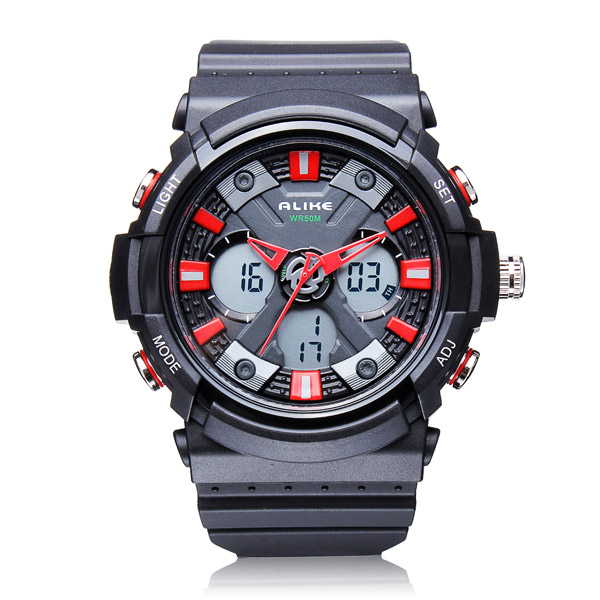 ALIKE AK14108 Back Light Sport Big Dial Alarm Men Quartz Watch Watch