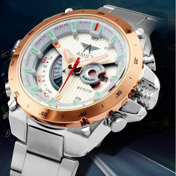 AMST 3008 Rostfritt Stål Datum Vattentät Armbandsur Klockor