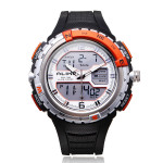 Alike AK1388 Sport Military Black Dual Time Rubber Men Quartz Watch Watch