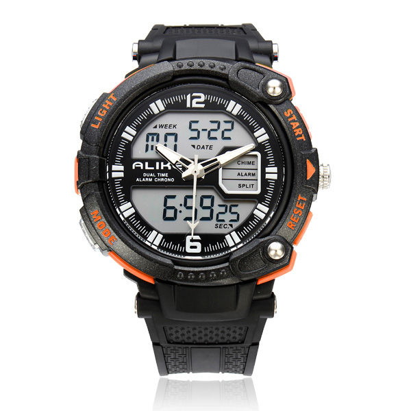 Alike AK1391 Sport Date Big Dial Back Light Black Men Wrist Watch Watch