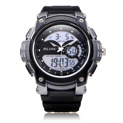Alike AK1396 Sport Dato Chronograph Alarm Sorte Mænd Armbåndsur