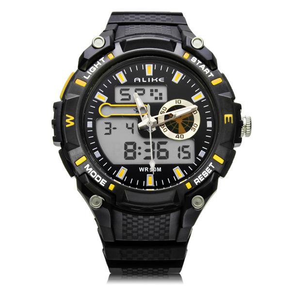 Alike AK14100 Sport Date Big Dial Back Light Black Men Wrist Watch Watch