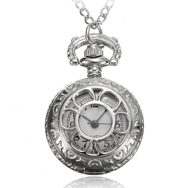 Antique Silver Hollow Round Lommeur Halskæde Kæde Ure & Armbåndsure