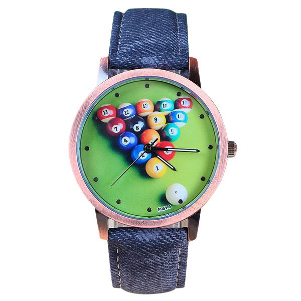 Billard Gewebe Band Mann Frauen Cartoon Wasserdichte Quarzuhr Uhren