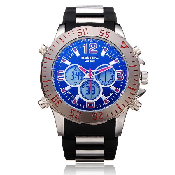 Bistec 3 Dial Dual Display Sport Gegenlicht Schwarz Mann Armbanduhr Uhren