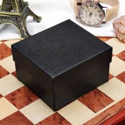 Black Blue Square Hard Cardboard Paper Jewelry Wrist Watch Box