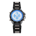 Black Multifunction 4 Dial Sport Waterproof Rubber Men Quartz Watch Watch