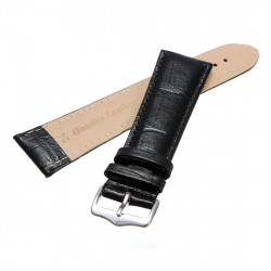 Black Stitching Crocodile Texture Leather Watch Band Strap