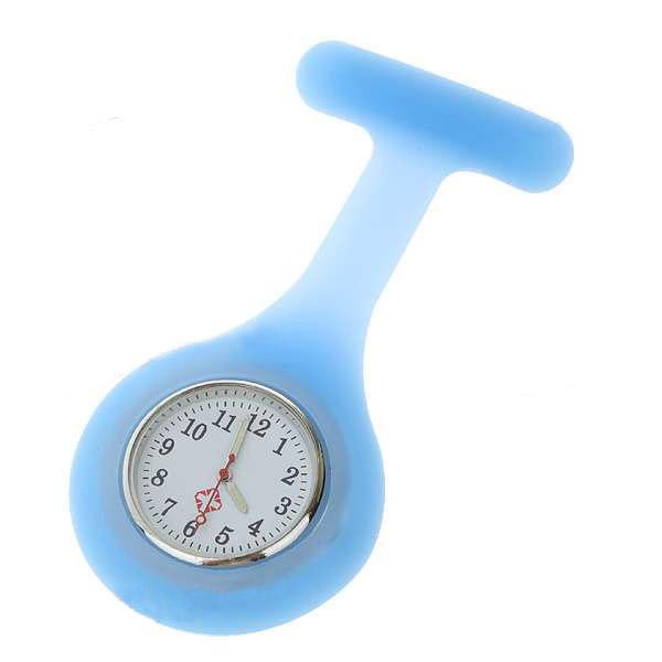 Blau Silikon Brosche Quarz Revers Krankenschwester Uhr HOT Uhren