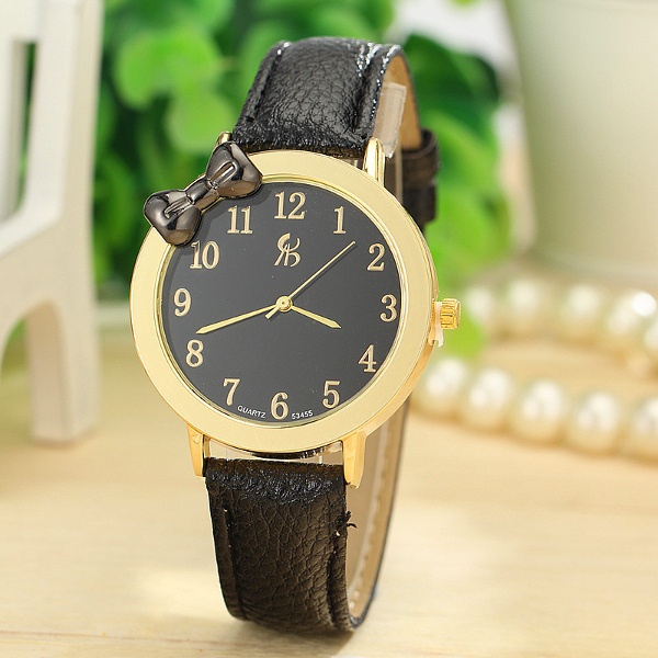 Bowknot PU Lederband Goldkasten Quarz Uhr Uhren
