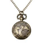 Bronze 3 Pferde Gravieren Quarz Taschen Uhr Halsketten Uhren
