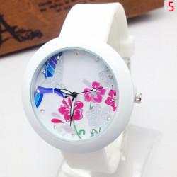 Schmetterlings Vogel Blumen 17 Muster Strass Silikon Quarz Uhr