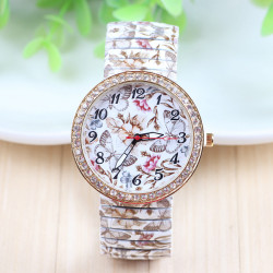 Butterfly Flowers Printed Elastic Stainless Steel Band Watch