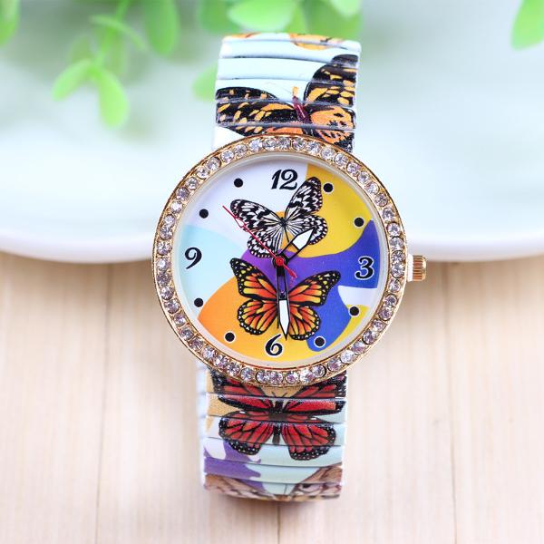 Schmetterling um Strass Elastic Uhr aus Edelstahl Uhren