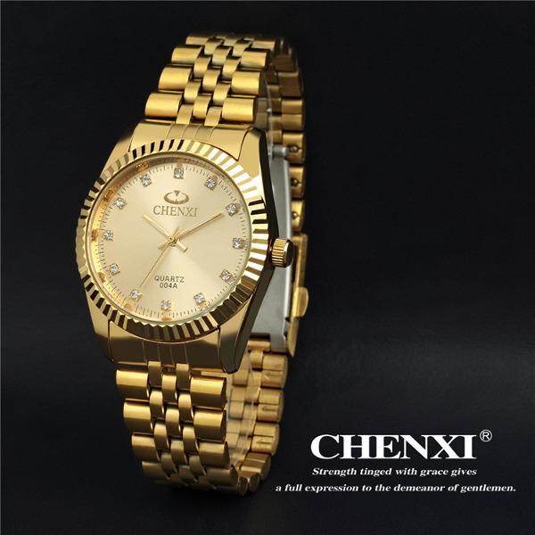 CHENXI CX 004A Kristall Gold Edelstahl Wasserdichte Quarzuhr Uhren