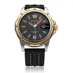 CURREN 8104 Black PU Leather Date Fashion Men Wrist Quartz Watch