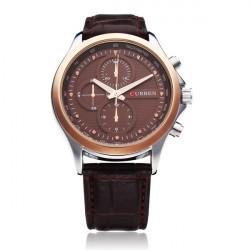 Curren 8138 Svart Guld 3 Urtavla Mode Herr Wrist Quartz Klocka