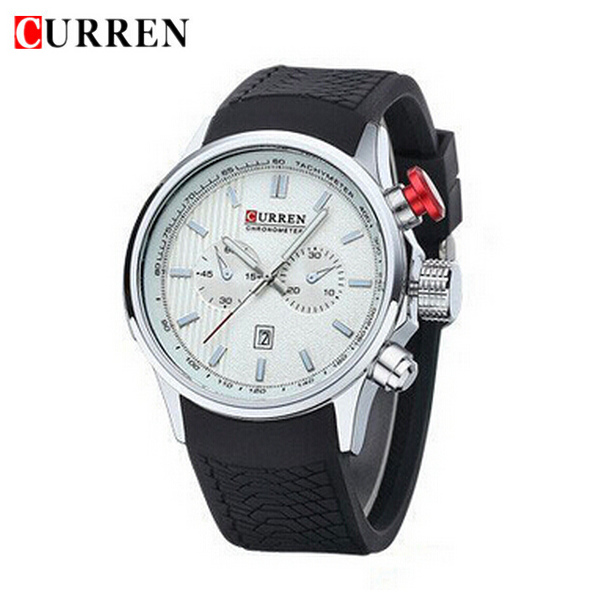 CURREN 8175 Silicone Band Date Live Waterproof Sport Watch Watch