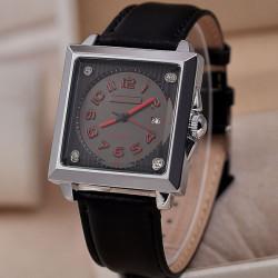 CURREN Square Dial Black PU Band Waterproof Quartz Watch