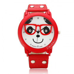 Cartoon Panda Glasses PU Leather Band Wrist Watch