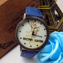 Casual Jeans Band Work Hard Letters Printed Hands Wrist Watch