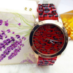 Casual Leopard Grain Silicone Band Women Wrist Watch
