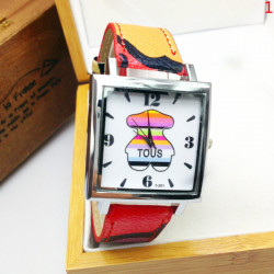 Casual Teddy Bear Square Dial PU Leather Band Watch
