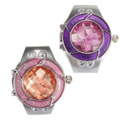 Crystal Flower Pattern Elastic Silver Women Ring Watch 2 Colors
