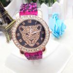 Kristall Leopard Silikon Band Armbanduhr Uhren